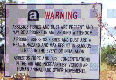 An asbestos warning sign in Wittenoom, Western Australia