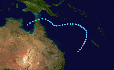 The track map showing the path of Cyclone Dawn, 1970