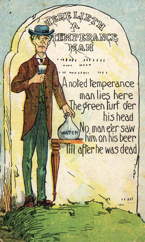 A 1906 postcard depicting a humorous view of the temperance movement