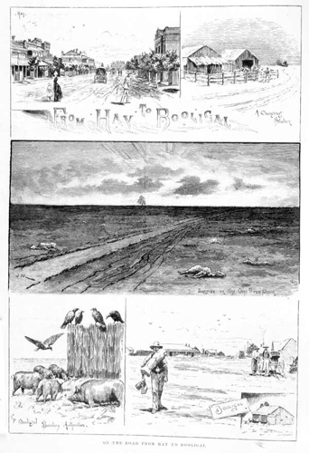 Sketches of drought-affected areas in New South Wales are depicted in 'On the road from Hay to Booligal', 1889