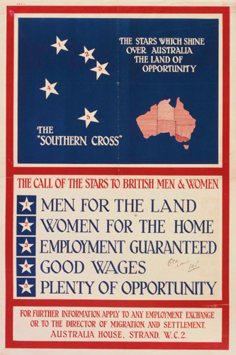 A 1928 poster encouraging British people to migrate to Australia