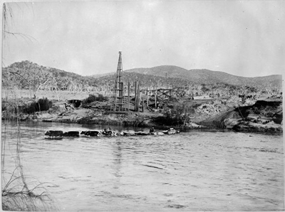 The Tharwa bridge under construction in 1894. This was the first bridge across the Murrumbidgee River and is the oldest bridge still standing in the Australian Capital Territory.