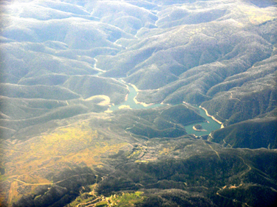 An aerial view of Tumut Pond Dam, New South Wales