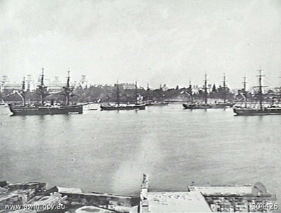 Ships of the Royal Navy squadron moored in Farm Cove, c. 1880