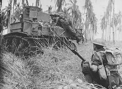 Australian troops in Buna, New Guinea, during the Second World War
