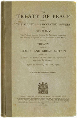 The English version of the Treaty of Versailles published in 1919, London